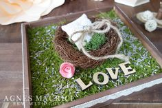 Handmade with love, Rustic Country Moss Nest Ring Pillow with Dried Lavender.