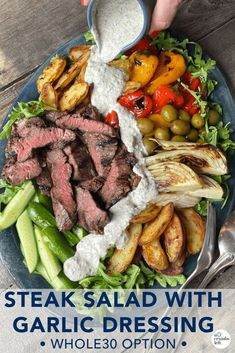 This is a great celebration salad! With grilled skirt steak, potatoes, and some beautiful vegetables, you have a showstopper salad that the whole family will love. #nocrumbsleft #bigsalad #saladinspo #whole30 Barbecue Recipes, Grilling Recipes, Veggie Recipes, Healthy Recipes, Barbecue Sauce, Veggie Food, Healthy Food, Grilled Skirt Steak, Grilled Meat