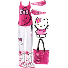 A fashion look from December 2012 featuring Hello Kitty, Hello Kitty pajamas and Hello Kitty tote bags. Browse and shop related looks.