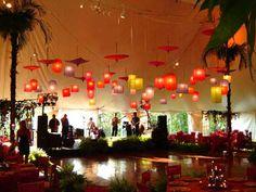 i am a sucker for asian lanterns and umbrellas- cool party idea