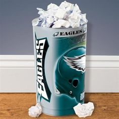 Buy Philadelphia Eagles Tapered Wastebasket from the official online store of the Philadelphia Eagles! Eagles Fans Buy Philadelphia Eagles Tapered Wastebasket and support Eagles Football. Philadelphia Eagles Merchandise, Philadelphia Eagles Football, Jeremy Maclin, Fly Eagles Fly, Man Cave, Game Rooms, Spare Room, Bed Room, Sons
