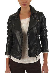 Women Female Zara Embossed PU Leather Motorcycle Striped Jacket ...