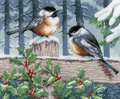 Blue tits in winter - cross stitch