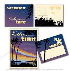 Printable Wedding Suite - Wedding Invitation - Hawaii, aloha, sunset, palm trees, retro, poster, plumeria, pacific, island. $49.99, via Etsy.