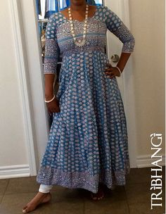Blue Jaipur block print cotton Anokhi style anarkali, bohemian maxi dress…