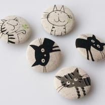 Top Cats - Set of Five (I like the idea, and I think I have cat patterns that would work well)