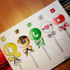 Social Media Cake Pops By _ Arts-help Found this cute d . - Entwurf Social Media C Cute Disney Drawings, Kawaii Drawings, Cute Drawings, App Drawings, Drawing Sketches, Pencil Drawings, Drawing Drawing, Emoji Drawings, Drawing Ideas