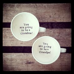 Your place to buy and sell all things handmade New Grandparents Pregnant Surprise Mug Set Hand by GreysHollow