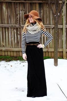 Bringing the maxi skirt into the winter.