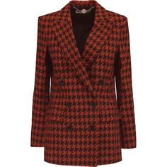 Stella McCartney Houndstooth cotton and wool-blend blazer (3.650 BRL) ❤ liked on Polyvore featuring outerwear, jackets, blazers, blazer, brick, cotton jacket, wool blend blazer, red double breasted blazer, tailored blazer and houndstooth blazer