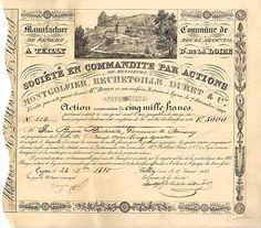 Montgolfier, Bechetoille, Duret & Cie. Manufacture de Papiers S.C.p.A. Action 5.000 F 1.1.1828.