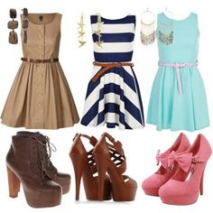 Love the dresses, only really liking the middle heels, but they're all a little tall and don't look very comfortable.