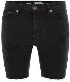 adcb92ae5a5 Black Rip Raw Stretch Skinny Denim Shorts - Shorts - Clothing