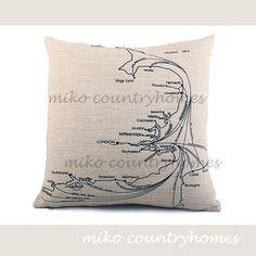"$15.00 | Vintage Map Illustrations | Decorative Linen Pillow Cover | 45x45cm 18""x18"" #homedecor #throwpillows #pillowcover #vintagemap #mapillustrations"