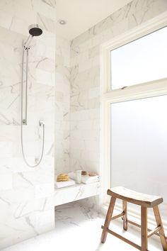 Suzie: John Maniscalco Architecture - Stunning marble shower with marble tiles shower surround, . Bathroom Renos, Bathroom Interior, Modern Bathroom, Bathroom Bath, Wood Bathroom, Design Bathroom, Bath Design, Small Bathroom, White Marble Bathrooms