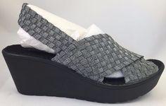 NEW Steven By Steve Madden Batina Silver Chrome Pewter Sandal Wedge Sizes 6 7 8…