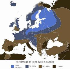 A map showing the prevalence of blue eyes in Europe.