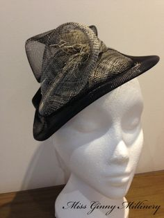 Alice : Black and grey Sinamay and Crin Lily by MissGinnyMillinery