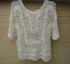 Hairpin Crochet Lace Blouse Womens Summer by Tinacrochetstudio