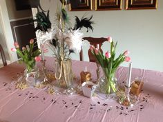 Birthday party center piece. Made this table decor for my moms birthday party, we did a wine and mimosa bar. It was a blast!