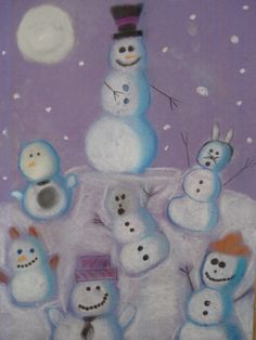 a faithful attempt: Snowmen at Night Chalk Pastel Drawings Winter Art Projects, School Art Projects, Snowmen At Night, 4th Grade Art, Teaching Art, Preschool Learning, Teaching Ideas, Art Classroom, Classroom Setup