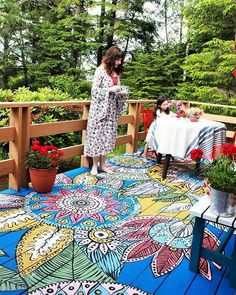 WEBSTA @ thehippiehomes - Look at that floor! Hand painted by @alisaburke•☀ Fb.com/thehippiehomes