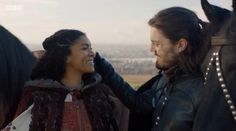 The Musketeers series 3x10. Sylvie, Athos. 'What lies ahead of us' asks Sylvie. 'It really doesn't matter' replies Athos. BBC