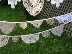 Pretty Vintage Lace Doily Mini Bunting , Rustic Shabby Chic, Farmhouse Country Wedding Bunting,13 flags.
