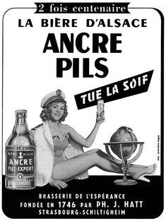 Publicité Ancre - 1954 - bière - Strasbourg - Schiltigheim - Alsace -