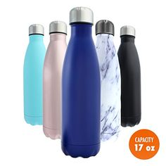 Stainless Steel Water Bottle + Bonus Cleaning Brush! Best for Cold or Hot Drinks. Vacuum Seal with Metal Insulated Double Walled Flask, BPA Free Warm for 12 Hours Cold for 24 (Scuba Blue, 17Oz) - $37.99