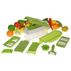 Nicer Dicer Plus 12 Pcs Slicer Vegetable Cutter Peeler Grater Kitchen Chopper #Unbranded