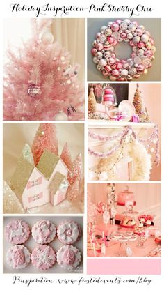 Holiday Inspiration Pink Shabby Chic Christmas  Pink Christmas ideas  www.frostedevents.com