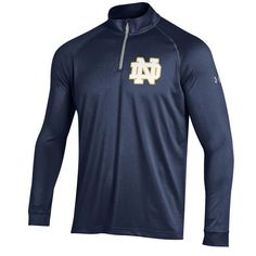 Notre Dame Fighting Irish Under Armour Quarter Zip Long Sleeve Tech T-Shirt - Navy