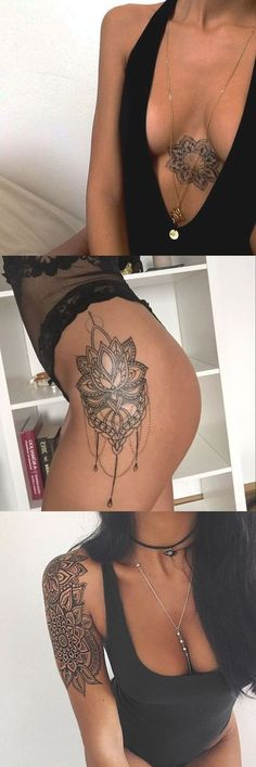 Geometric Simple Lotus Chandelier Mandala Sternum Thigh Arm Sleeve Tattoo Ideas for Women - MyBodiArt.com