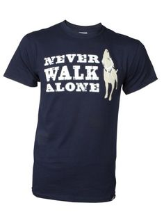 Dog is Good Unisex Never Walk Alone Tee Large Navy *** Read more details by clicking on the image.