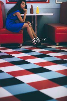 amusement park, fashion editorial, cameron kham, red, blue, rhea gupte, the girl from FUSS, fashion, american diner, tiles, mustard, ketchup