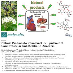 Natural Products to Counteract the Epidemic of Cardiovascular and Metabolic Disorders  http://www.ncbi.nlm.nih.gov/pubmed/27338339   #CVD #cardiovascular #diabetes #herbs #natural #metabolism #diet #food #nutrition #science #research #pharmacy #pharmacology #medicine #health