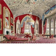 The Drawing Room at Eaton Hall. Mario Praz an illustrated history of interior design. Gothic Interior, Palace Interior, Luxury Interior, Interior And Exterior, Cafe Interior, Eaton Hall, Interior Design History, Castle Rooms, Cheshire England