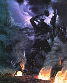 Morgoth fights Fingolfin, High King of the Noldor