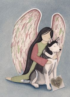 Excited to share the latest addition to my #etsy shop: Siberian Husky with Angel / Lynch signed folk art print https://etsy.me/2KQtDUQ #art #printmaking #angel #dog #siberianhusky #watercolorqueen