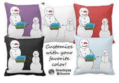 Cartoon Snowmen Going Back to School Throw Pillow by #Gravityx9 at #Zazzle. Choose the background color to match your room decor. Designed on both sides of the pillow, available in three size options.  Fun accent to add to kids room or classroom! ~ #Backtoschool #schoolroom #kidsroom #homedecor