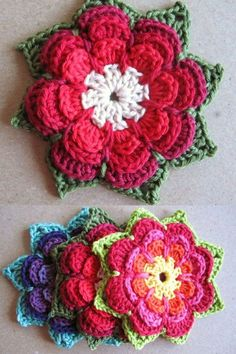Crochet Puff Flower Layered Flower Pattern - Wondering how to make crochet flowers? We have everything from Japanese flowers to appliqué patterns and even a wedding bouquet! Crochet Poppy, Crochet Sunflower, Love Crochet, Beautiful Crochet, Crochet Bags, Crochet Animals, Crochet Symbols, Crochet Chart, Crochet Motif