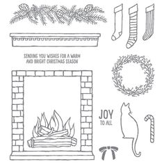 Festive Fireplace photopolymer stamp set, Stampin' Up!