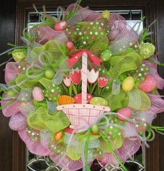 Deco Mesh EASTER WREATH with BASKET of Tulips. , via Etsy.