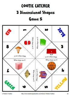 Cootie Catcher Math Hand Game - Grade 1 by A Thinker's Toolbox #commoncore #fun #3Dshape