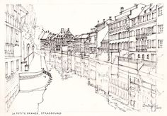 La Petite France. This is an original pencil and ink freehand sketch by Dai Wynn. It depicts grand houses along the banks of a canal of the River Ill in Strasbourg, France. 21cm X 29cm (8.25″ X 11.75″) approximately.  Available for sale at $110.