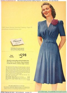 1940s Fashion, Vintage Fashion, Christmas Catalogs, Dress To Impress, Vintage Inspired, Vintage Outfits, Fashion Dresses, Spring Summer, My Style