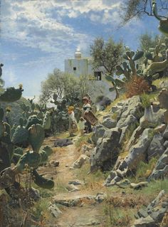 The Athenaeum - At Noon on a Cactus Plantation in Capri (Peder Mork Monsted - )