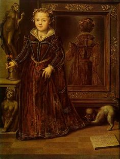 How interesting - the back of the dress is reflected in the mirror -  Ritratto di Leonora Sanvitale a tre anni, 1562, Galleria Nazionale, Parma. Obra de Girolamo Mazzola Bedoli