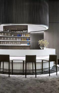 Bar - Rongxin Century City in Hangzhou by DIA Lounge Design, Bar Lounge, White Interior Design, Cafe Interior, Restaurant Concept, Restaurant Design, Bar Counter Design, Modern Bar, Bar Chairs